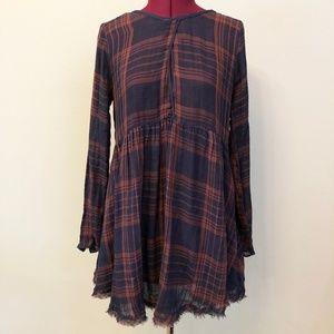 Free People | Woven Plaid Shirtdress w/ Cross Back